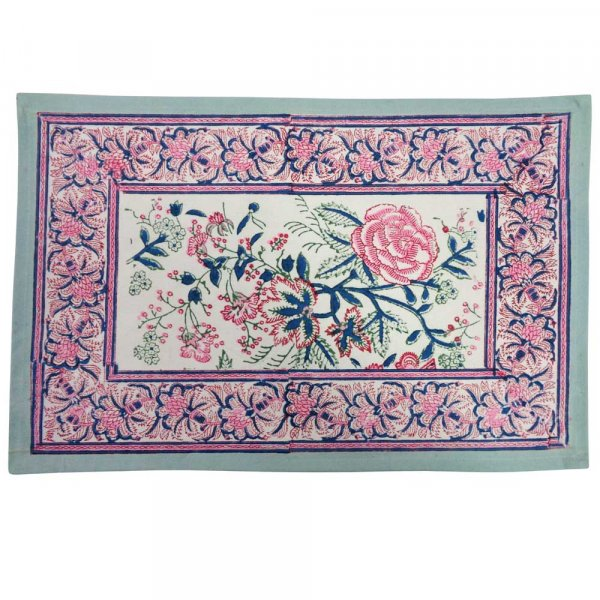 Hand Block Printed Cotton Canvas Table mat 32x48 csm (Set of 2 Table mats) | Naya Gulab Open 102263