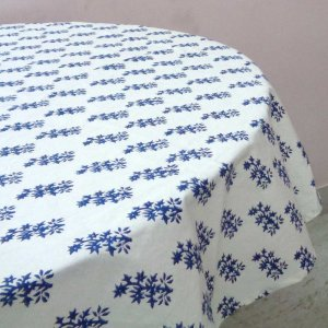 ROUND TABLE COVER Blue Booti Hand Block Printed on 100% Cotton TABLECLOTH Sheeting. SKU 1451