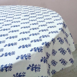 ROUND Cotton BOOTI BLUE TABLE COVER Hand Block Printed on 100% Cotton TABLECLOTH Sheeting. SKU 1451