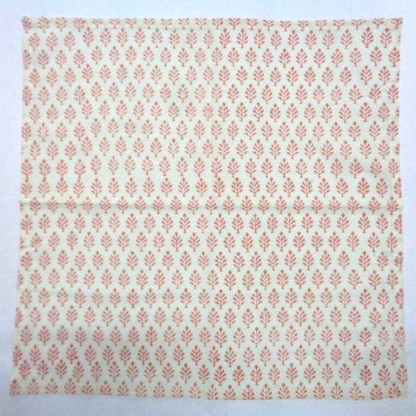 Cotton Napkin Neem Peach Hand Block Printed SKU 105617 Set of 4 Napkins