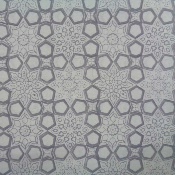 5 Yards running fabric Hand Block Printed Geo Chokri Grey 100448