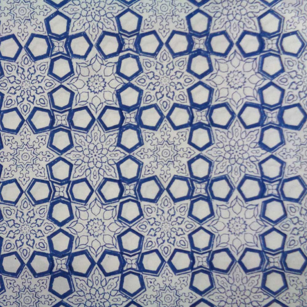 5 Yards running fabric Hand Block Printed Geo Chokri Blue 100451