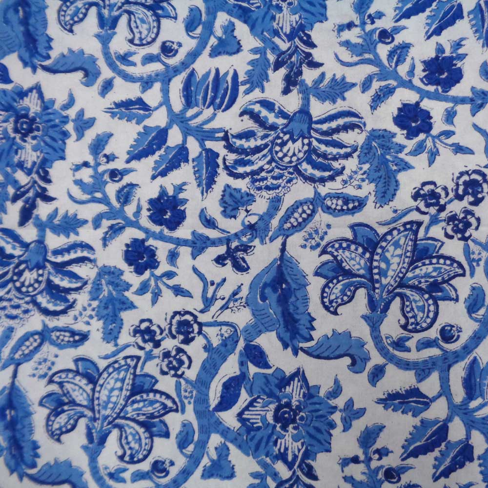 5 Yard Running Fabric  Hand Block Printed Cotton 20 Sheeting Fabric | Anarkali Blue Open 105049