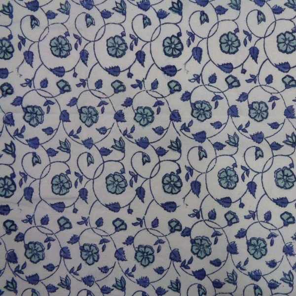 5 Yard Running Fabric  Hand Block Printed Cotton 20 Sheeting Fabric | Floral Kali Blue 201616