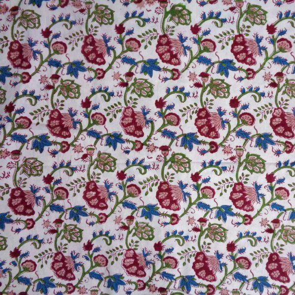 5 Yard Running Fabric  Hand Block Printed Cotton 20 Sheting Fabric | Genda Bale 107048