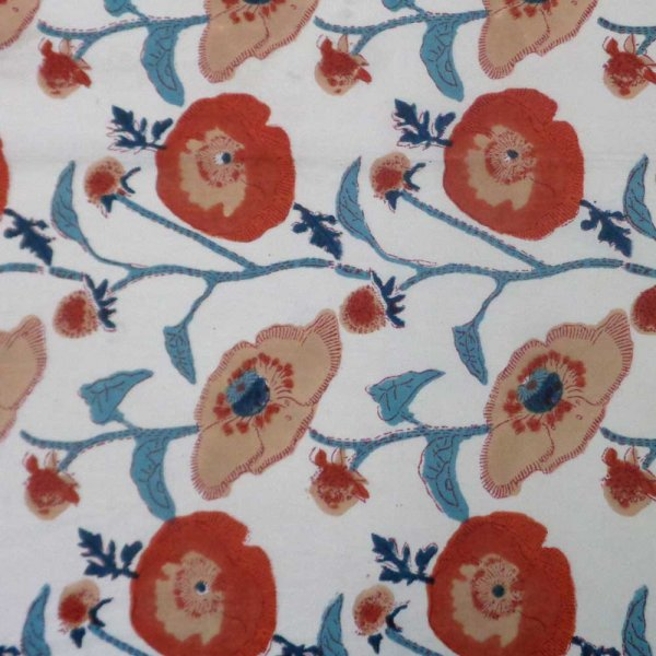5 Yard Running Fabric  Hand Block Printed Cotton Fabric | Teal Flower Open 109975