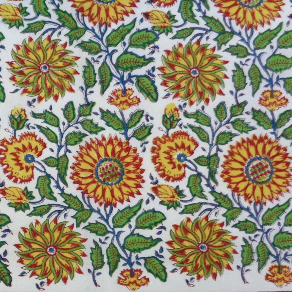 5 Yards Running Fabric Hand Block Printed Cotton Fabric | Surajmukhi Canary Open 106807