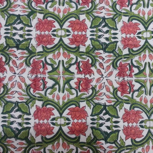 5 Yard Running Fabric  Hand Block Printed Cotton Fabric | Lotus Green Open 106822