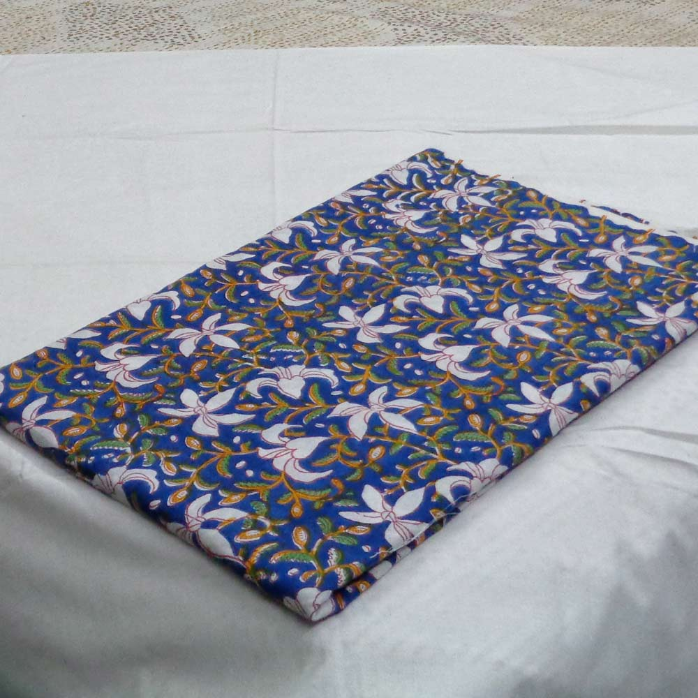 5 Yard  Fabric SANGANERI FABRIC 108185 Hand Block Printed on 100% Cotton