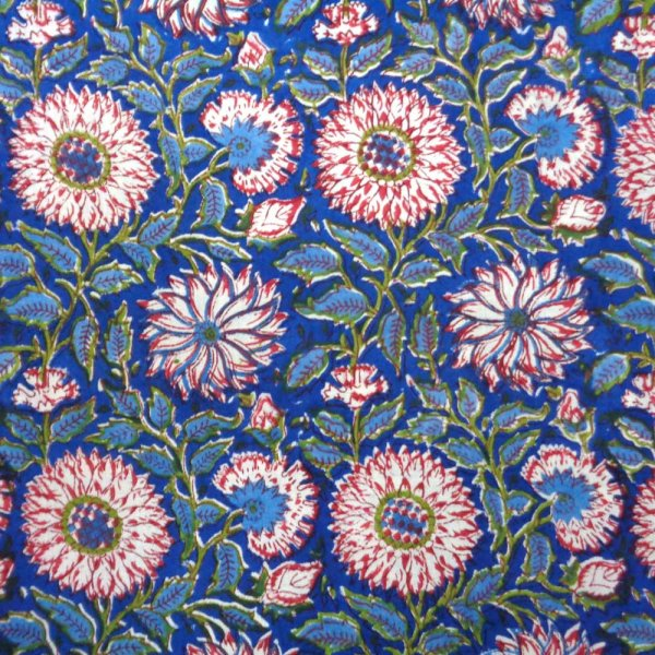Five Yard SANGANER 8014 Five yards running fabric Hand Block Printed