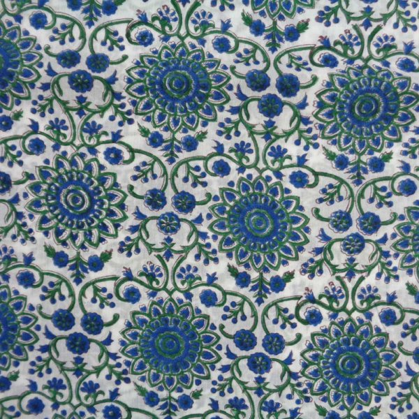 High quality 100% Cotton 60 Sheeting Fabric  Hand Block Printed by Roopantaran Artisans  Five Yard fabric 8935