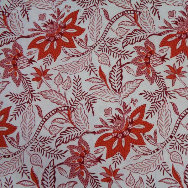 5 Yard Running Fabric  Hand Block Printed Cotton Voile Fabric | Bossanova Red Open 201168