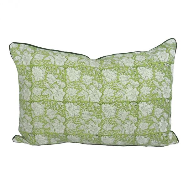 Floral Bouquet Dark Olive Hand Block Printed Pillow Cover SKU 7648
