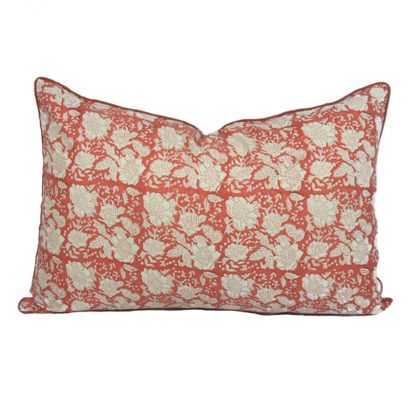 Floral Bouquet Jaipur Pink Hand Block Printed Pillow Cover SKU 7643