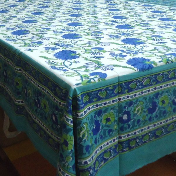 FLOWER BLOSSOM SEA GREEN OPEN Hand Block Printed Cotton Tablecloth 6 seater