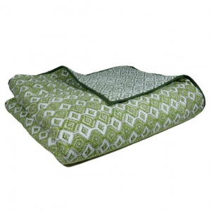 Indian Summer Twin Quilt in Cotton Washable Geometric Dark Olive