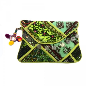 Banjara Clutch Purse Embroidered Vintage Fabric with mirror work SKU 2275 | BOHO GYPSY BAG