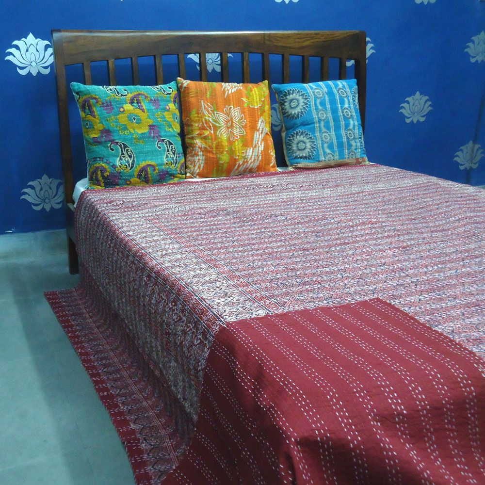 Ajrakh style Printing by the artisans of Roopantaran cluster  Cotton Queen Kantha SKU 2743