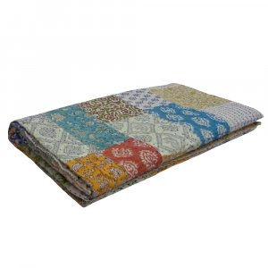 PATCHWORK  2834 Block Printed Queen Size Patchwork Bedspread Kantha Quilt