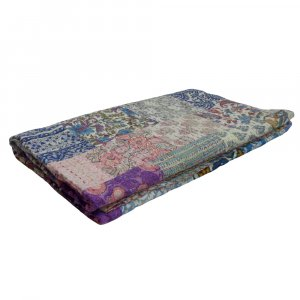 PATCHWORK  2889 Block Printed Queen Size Patchwork Bedspread Kantha Quilt