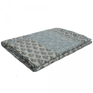 PATCHWORK KANTHA ASHLEY BLUE 5372 Queen Size Bedspread