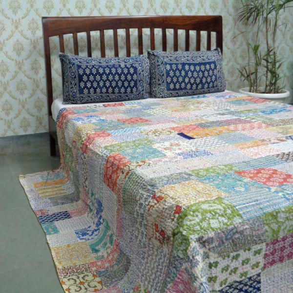 PATCHWORK  105629 Block Printed Queen Size Patchwork Bedspread Kantha Quilt