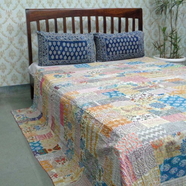 PATCHWORK  105659 Block Printed Queen Size Patchwork Bedspread Kantha Quilt