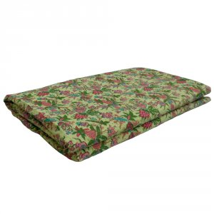 FLORAL OLIVE 5750 Kantha Queen Quilt Hand Embroidered Bedspread