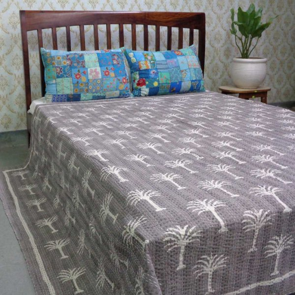 BAGRU Single Width Kantha Queen Size | Palm Tree Nirvana Grey 102635