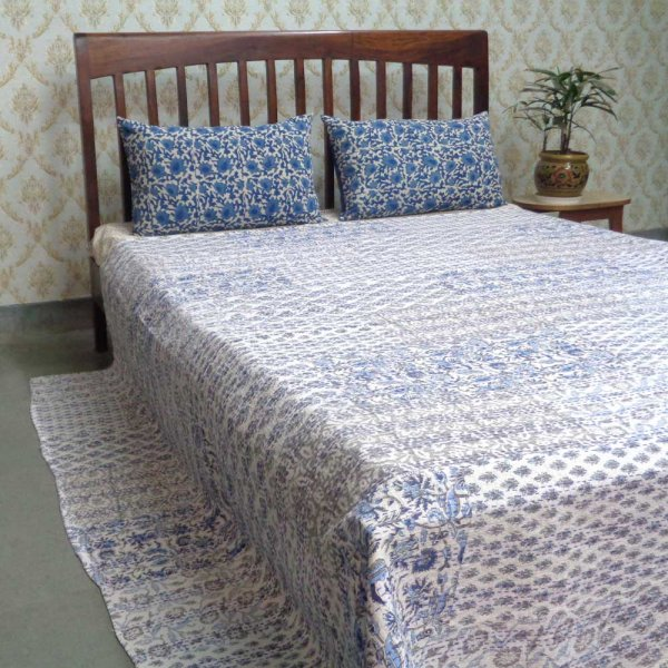 PATCHWORK  101420 Block Printed Queen Size Patchwork Bedspread Kantha Quilt