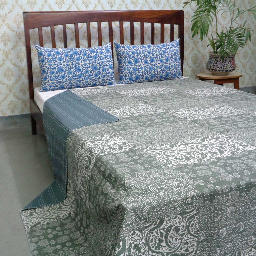 Hand Block Printed Cotton Queen Size Patchwork Bedspread Kantha | 107344
