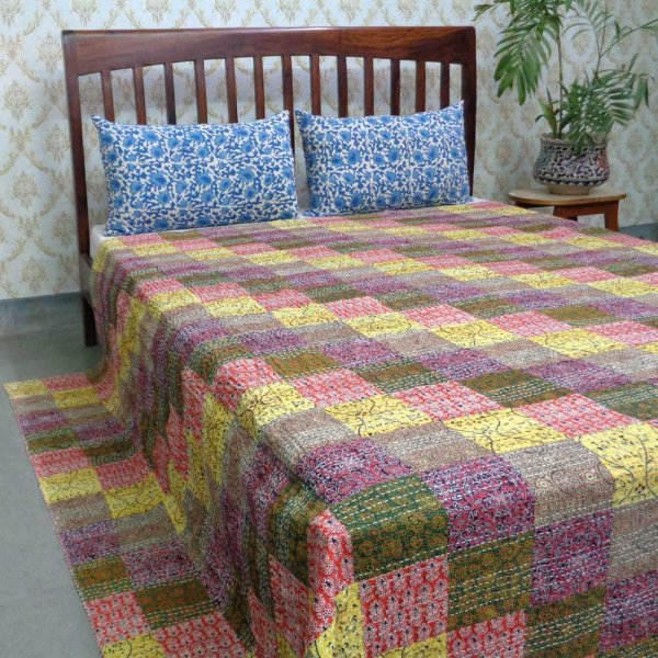 Hand Block Printed Cotton Queen Size Patchwork Bedspread Kantha | 107459