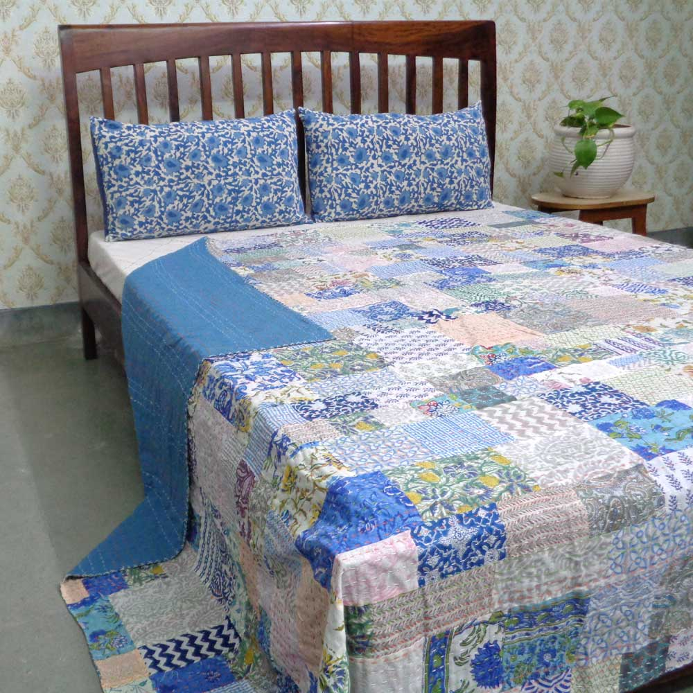 Hand Block Printed Cotton Queen Size Patchwork Bedspread Kantha | 108057