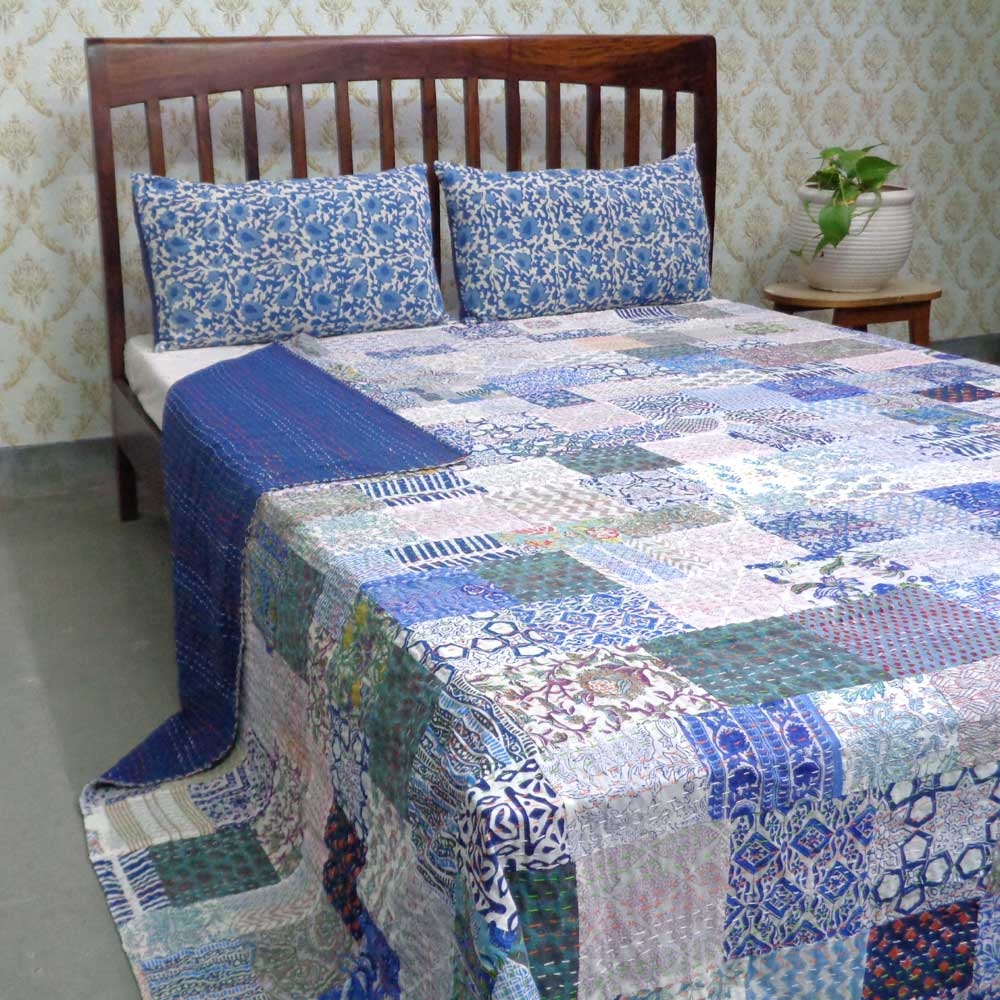Hand Block Printed Cotton Queen Size Patchwork Bedspread Kantha | 108138
