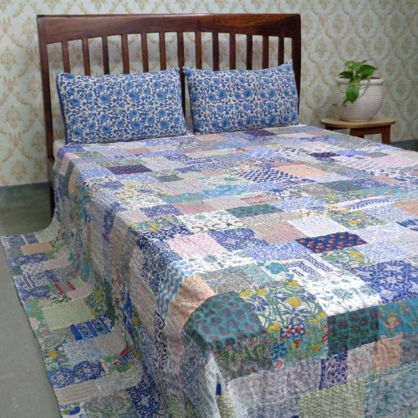 Hand Block Printed Cotton Queen Size Patchwork Bedspread Kantha | 108144