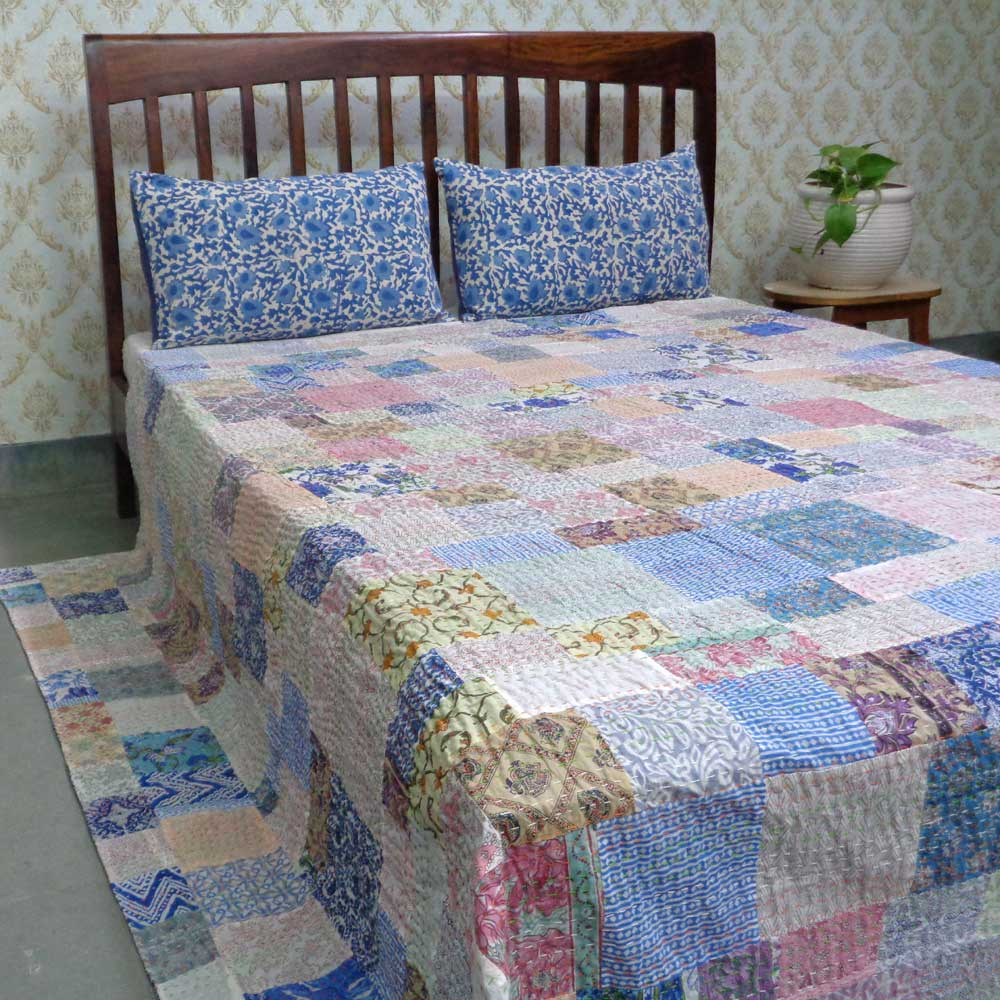 Hand Block Printed Cotton Queen Size Patchwork Bedspread Kantha | 108169