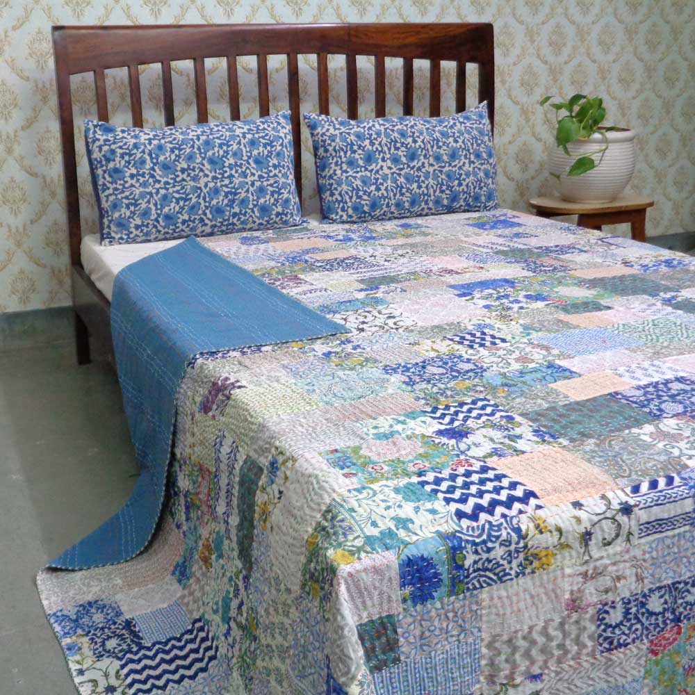 Hand Block Printed Cotton Queen Size Patchwork Bedspread Kantha | 108203