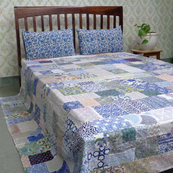 Hand Block Printed Cotton Queen Size Patchwork Bedspread Kantha | 108252