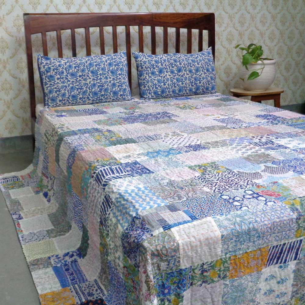 Hand Block Printed Cotton Queen Size Patchwork Bedspread Kantha | 108258
