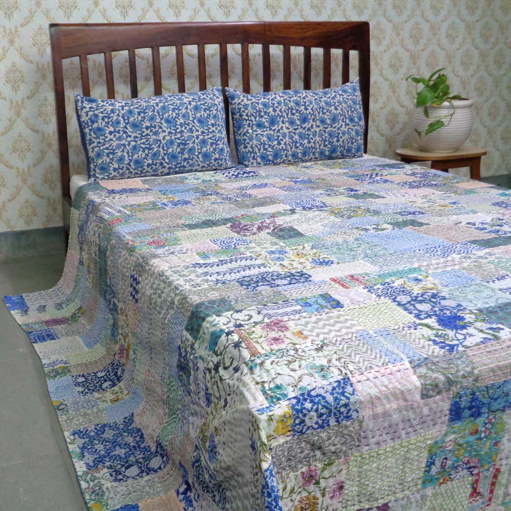 Hand Block Printed Cotton Queen Size Patchwork Bedspread Kantha | 108265