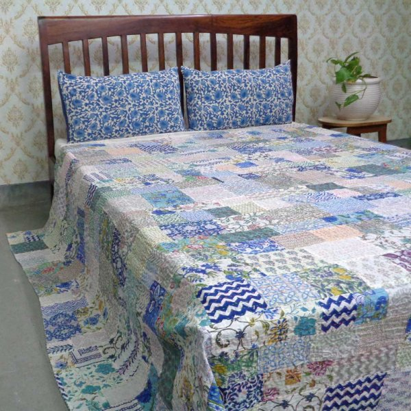 Hand Block Printed Cotton Queen Size Patchwork Bedspread Kantha | 108292