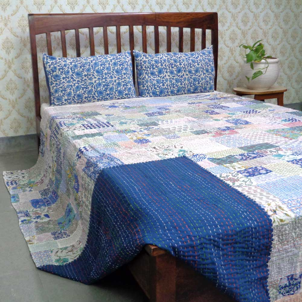 Hand Block Printed Cotton Queen Size Patchwork Bedspread Kantha | 108298