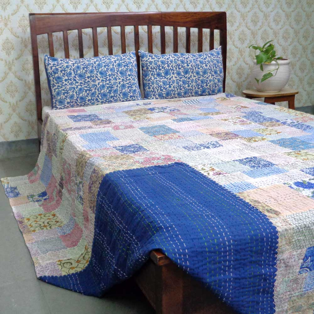 Hand Block Printed Cotton Queen Size Patchwork Bedspread Kantha | 108304
