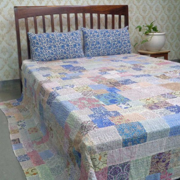Hand Block Printed Cotton Queen Size Patchwork Bedspread Kantha | 109400