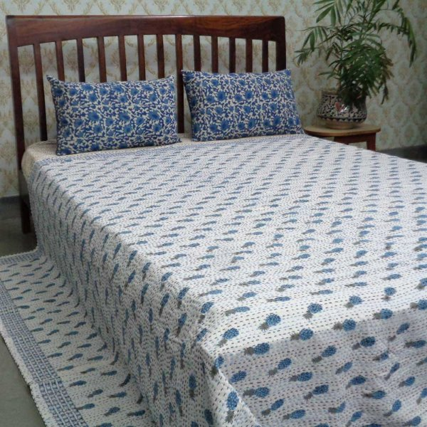 Kantha Cotton Queen Size | Slanting Pineapple Blue 100426