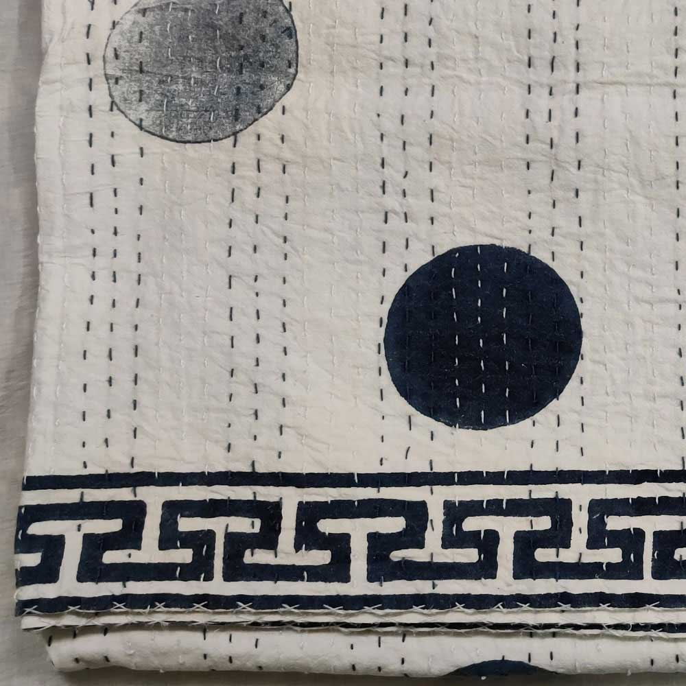 Hand Block Printed Cotton Sanganer Kantha Queen Size | Bindi Insignia Blue 171955