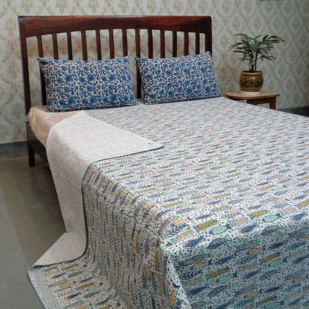 Kantha Cotton Queen Size | Fish Multi 104433