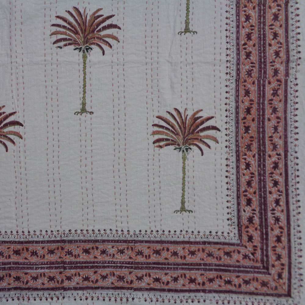 Hand Block Printed Cotton Kantha Queen Size | Palm Tree Pink 106286