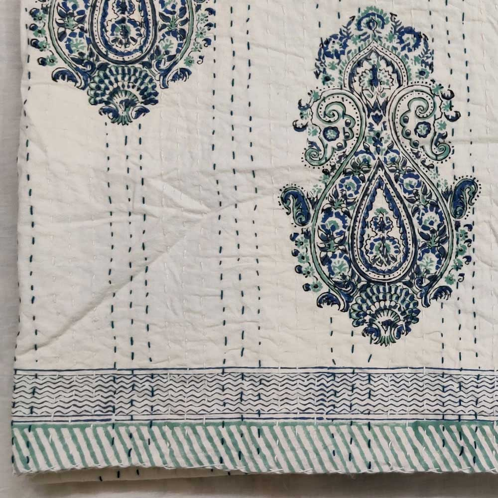 Hand Block Printed Cotton Sanganer Kantha Queen Size | Taj Blue 170952