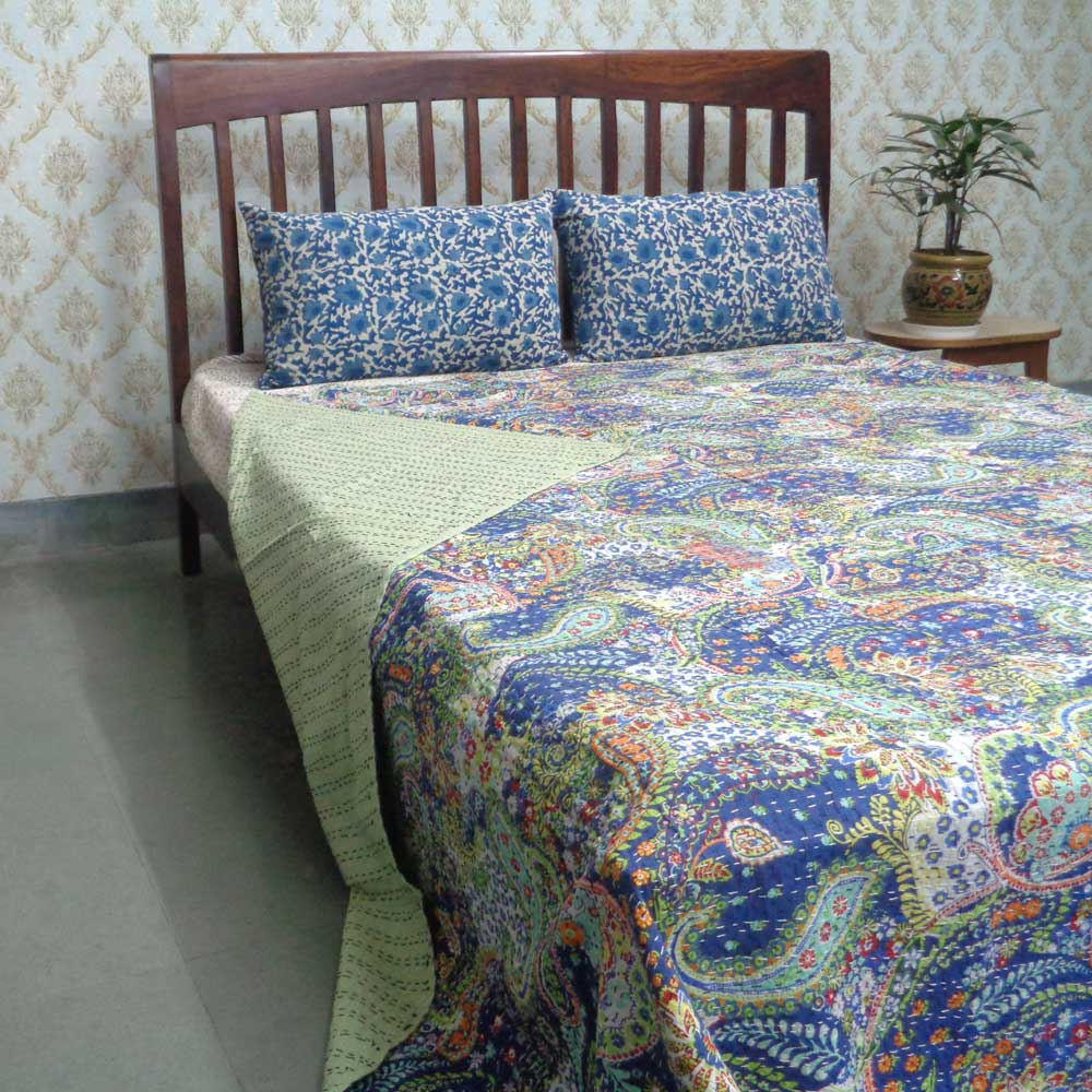 Kantha Cotton Queen Size Paisley Blue 101098